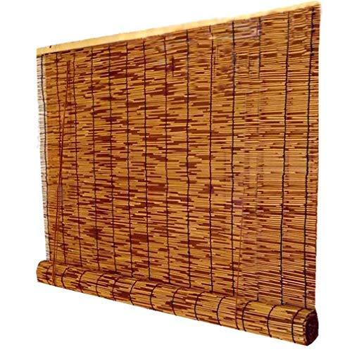 KDDEON Handgewebte Natürliche Schilf Vorhang,wasserdichte Sonnenschutz Strohjalousien Retro-Karbonisierung,für Trennwände,für Hintergrundwand,Anpassbar,für Außen/Innenbereich (130x150cm/51x59in)