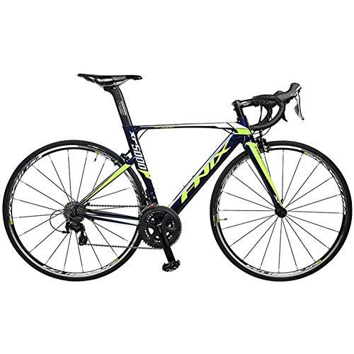 DJYD Rennrad, 22 Geschwindigkeit Leichte Aluminium-Straßen-Fahrrad, Männer Frauen Rennrad, Carbon-Faser-Gabel, Stadt-Pendler-Fahrrad, Blau, 470 FDWFN (Color : Blue, Size : 500)
