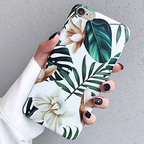 Saceebe Compatible avec iPhone 6S 4.7 Coque Fleur Feuilles Motif Créatif Coque Souple Doux TPU Silicone Anti-Choc Protection Cover Housse Ultra Fine Bumper Léger Case Étui,Fleur Blanc