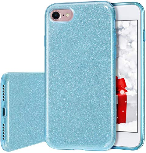 MILPROX Cover iPhone 8, iPhone 7 glitter shiny bling Slim Crystal Clear TPU Bling Glitter Paper Frosted PC Shell Protettiva Custodia per iPhone 7/8 - Blu