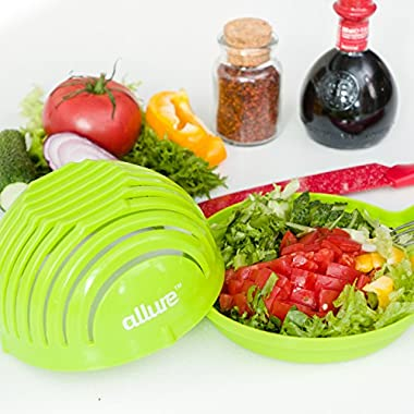 Salad Cutter Bowl Slicer w/Cutting Board| FASTEST FAMILY SIZE Vegetable, Fruit, Onion Chopper