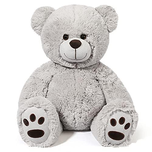 20 inch Teddy Bear Stuffed Animals, Soft Cuddly Stuffed Gray Bear Plush, Cute Toy with Footprints,...