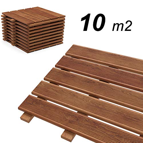 Floranica® Holzfliese komplett aus imprägniertem Lärchenholz, Terrassenfliesen, Balkonfliesen, Lärche fein geriffelt, ideal für Terrassendielen, Balkon, Farbe:braun, Menge:10m² (111 STK. 30x30 cm)