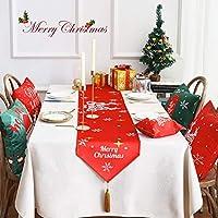 WENLI テーブルランナー クリスマスホリデーシーズンホームテーブルランナーのための雪片パターン装飾、赤、緑のクリスマステーブルランナープリント表の行 (Color : Red, Size : 33x220cm)