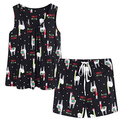 CHUNG Women's Cute Cotton Pajama Set Flamingo Print Tank Tee Shorts Sleepwear Summer Alpaca,M