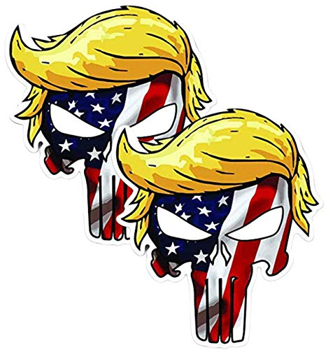 Trumpisher Trump Skull American Flag Vinyl Sticker Decal (2 Pack) - 4x4 Inches - for Car Truck SUV Van Window Bumper Wall Laptop MacBook Tablet Cup Tumbler and Any Smooth Surface