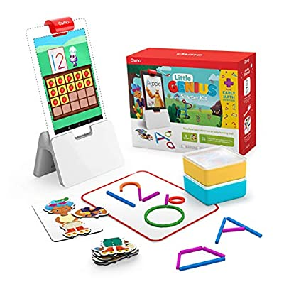 Osmo - Little Genius Starter Kit for Fire Tablet + Early Math Adventure - 6 Educational Games - Ages 3-5 - Counting, Shapes & Phonics - STEM Toy (Osmo Fire Tablet Base Included) (Amazon Exclusive) by Osmo