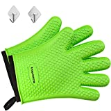 No.1 Set of Silicone Smoker Oven Gloves - Extreme Heat Resistant Washable Mitts for Safe Cooking Baking & Frying at The Kitchen,BBQ Pit & Grill. Superior Value Set + 3 Bonuses