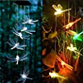 Anasu Solar Lights Outdoor LED Changing Wind Chimes Light LED Lights Decorative Wind Bell Light for Home Garden Hanging Decor (Clear)