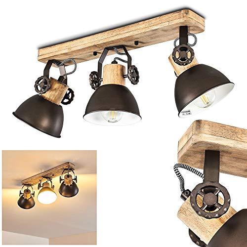 Deckenleuchte Orny, 3-flammig, mit verstellbaren Strahlern, Deckenlampe aus Metall/Holz in Schwarz/Natur, 3 x E27-Fassung max. 60 Watt, Spot im Retro/Vintage Design, für LED Leuchtmittel geeignet