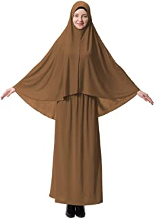 Muslim Festive Hijab Religion Abaya for Woman Highly Elastic Two-piece Suit Thobe Consists of Top and Dress