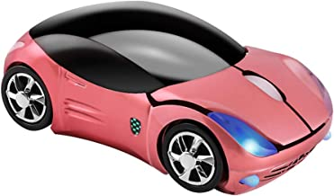 Usbkingdom 2.4GHz Wireless Mouse Cool 3D Sport Car Shape Ergonomic Optical Mice with USB Receiver for PC Laptop Computer Kids Girls Small Hands (Pink)