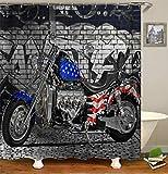 Kwboo Motorrad Dekoration. Harley-Motorrad Verziert Mit Amerikanischer Flagge. Duschvorhang. Wasserdicht. Mildewproof Einfach Zu Säubern. 180X180Cm.