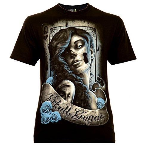 Santa Muerte with Lettering Herren T-Shirt Schwarz Gr. XL Glow in The Dark