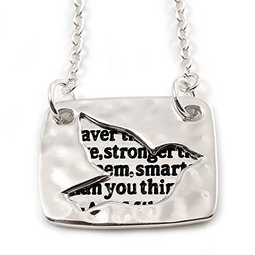 Unbekannt Avalaya 'You Are Braver Than You Believe, Stronger Than You Seem, Smarter Than You Think. A.A. Milne Anhänger Taube, offener Schnitt, 38 cm lang, 8 cm Verlängerung