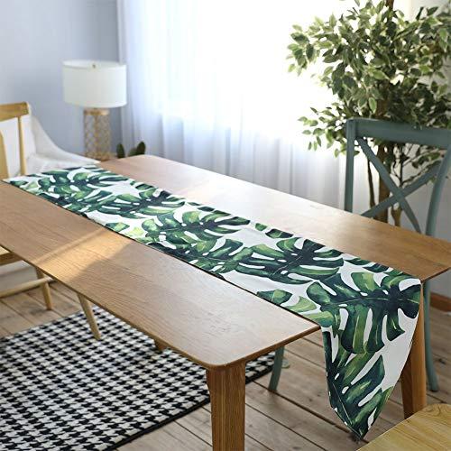 Romsion Home Digitale afdrukken Katoen Linnen Palm Leaf Monstera Blad Groen Blad Tafelkleed Tafelloper Placenmat Home Decoratie