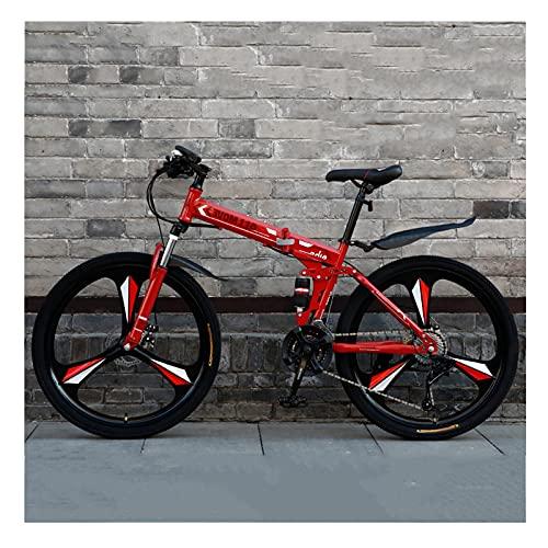 LHQ-HQ Bicicleta Plegable De Montaña para Adultos, 21 Velocidades, Freno De Disco Doble, Bicicleta MTB, Rueda De 26', Doble Suspensión,C