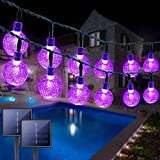 2PK Solar Halloween String Lights Outdoor Waterproof, Total 100 LED 61FT Crystal Globe Lights with 8 Modes, Purple Halloween Lights Solar Powered for Garden Party Halloween Decorations (Purple)