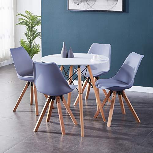 GOLDFAN Esstisch mit 4 Stühlen Rund Esstisch aus Holz Moderner Küchentisch Esszimmerstühle aus Holz mit Kissen für Esszimmer Wohnzimmer Büro, Weiß& Grau