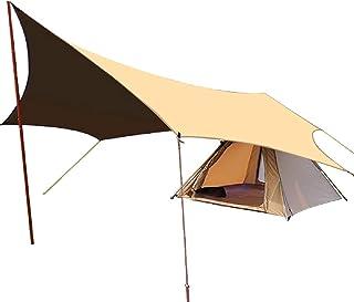 タープ TC Tarp (4.3m*4m) 防水タープ オクタタープ サンシェード キャンプギア アウトドア用 日除け ポリコットン 焚火タープ (イエロー)
