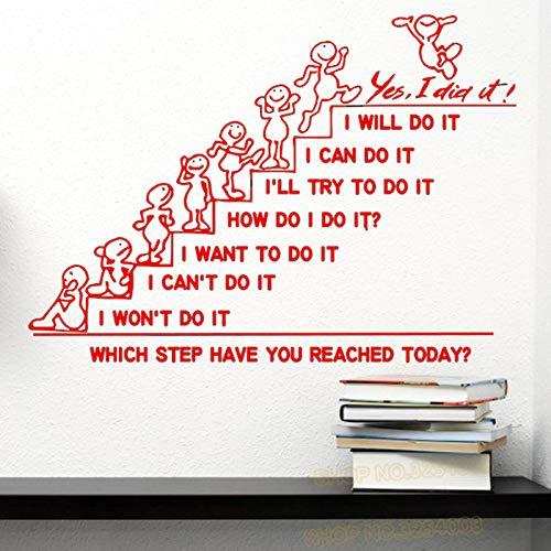 yiyiyaya Wandtattoos Zitat Welchen Schritt haben Sie Heute erreicht Decal Office Sticker Schlafzimmer Kinderzimmer Home Decor Art Murals rot 42x60cm