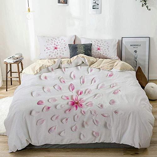 Juego de funda nórdica Beige, Sakura con pétalos Arreglo botánico Ilustración simbólica en colores pastel, Juego de cama decorativo de 3 piezas con 2 fundas de almohada Fácil cuidado Anti-alérgico Sua