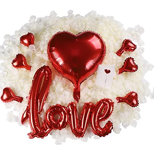 huaao Kit Decorazioni Anniversario 3000PCS Petali di Rosa Fiori Artificiali, Palloncini Cuore e Palloncini Amore Love Regalo Romantica San Valentino Matrimonio Compleanno Festa della Mamma