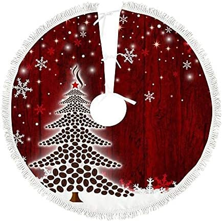 Red Christmas Challenge the lowest price of Japan ☆ Tree Skirt 30 New life Snowflakes Xmas Plush inch