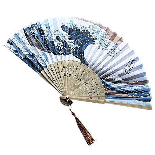 Ventilador Plegable De Mano para Nevera Japonesa con Ventilador Sólido Japonés Tradicional para Fiesta, Abanicos De Mano con Flores De Bambú, Favores De Boda B