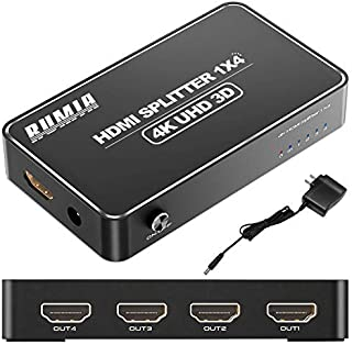 RUMIA HDMI分配器 4出力/1入力 4K+3D映像 hdcp解除 HDMI スプリッター最大297MHZ 高解像度 PS4 / PS3 / Fire Stick Roku/DVDプレーヤー/TV/HDTVなど対応 1年安心保証付き V...