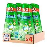 Somat Todo en 1 Gel Lavavajillas Verde - Pack de 4, Total: 240 Lavados