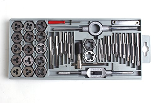 "GSR Gustav Stursberg - Set di filettatori, confezione da 40 pezzi M3-M12 + BSP 1/8"" in acciaio per utensili - Maschio per filettatura a mano + filettatore + filiera 25 x 9 M3 - M12 + giramaschio regolabile + supporto per filiera"