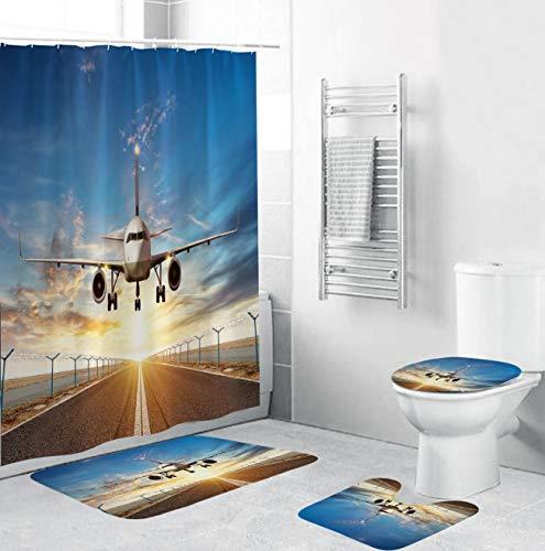 AIDEMEI Abenddämmerung Blauer Himmel & weiße Wolken Flugzeuge Duschvorhänge Badezimmervorhang Anti-Rutsch-Teppiche Toilettendeckelabdeckung Badematte Teppich Set 180X180CM