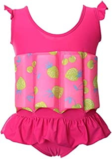Digirlsor Toddler Baby Girls Float Suit Kids One Piece Swimsuit Strawberry Buoyancy Swimwear Bathing Suit,1-6 Years