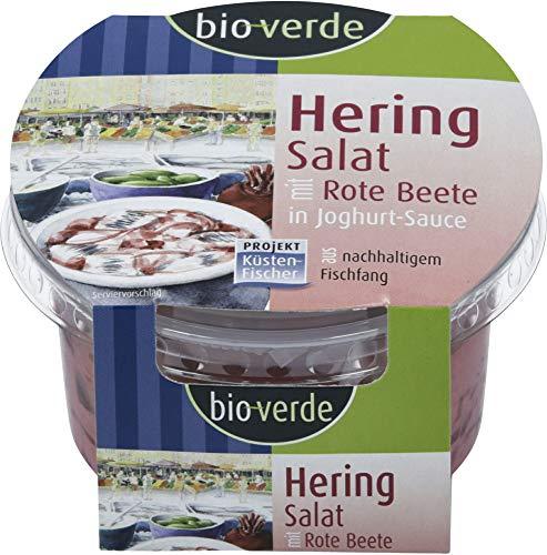 bio-verde Bio Küstenfischer Herings-Salat Rote Beete in Joghurt-Sauce, Naturland Fis (6 x 150 gr)