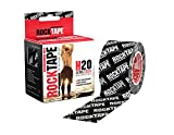 Rocktape Kinesiology Tape Athletes, Extra Sticky & Water Resistant, Reduce Pain & Injury Recovery, 5cm x 5m, Uncut, H2O Black Logo