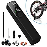 VEEAPE Portable Air Compressor Tire Inflator, Electric Bike Tire Pump with Digital Pressure Gauge, 120PSI Rechargeable Auto Air Pump for Bicycle Tires and Other Inflatables