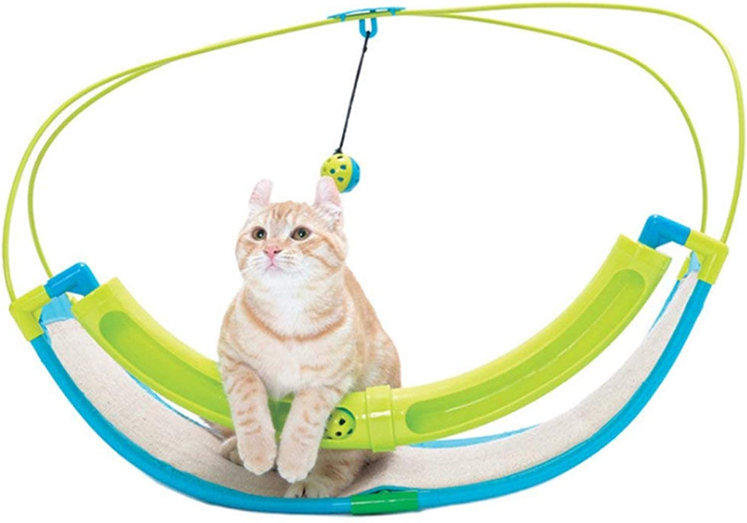 IW.HLMF Kitten Hammock Bell Play Toys With Swing Cat flax Scratch Board Kitten Game Cat Bell Ball Cradle Cat Toys Pet Supplies