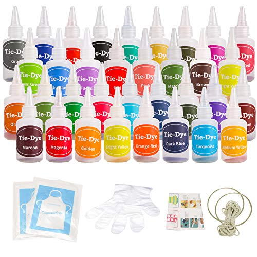 Ucradle Tie Dye Kit, 36 Stück Mode Stoff Farbstoff Kit DIY Textilfarbe, Permanente One-Step Tie Dye Art Set mit Gummi Band, Handschuhe und Schürze, Krawattenfärbe-Set für Kinder, Erwachsene