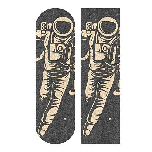 JRDD Skateboard Grip Tape Astronaut Floating Long Boards Grip Tape Non-Slip Grip Tape Sheet Sticker Waterproof Sandpaper Grip Tape 33.1x9.1 Inch Longboard Griptape for Outdoor Recreation