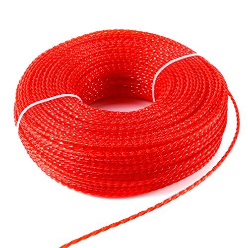Mähfaden Trimmerfaden Trimmer Line Trimmer Schnur Ersatzfaden Nylonfaden Twist,2.4MM, Rot, 100 Meter