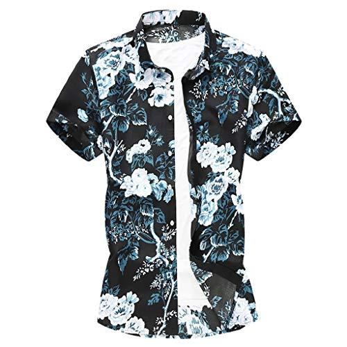 Luckycat Herren Strand Hawaiihemd Beach Insel Hirsch Party Vordertasche Button Down Kragen surf Aloha Freizeit Hemden Herren Hawaiihemd kurzärmelig Palmenmotiv Verkleidung Junggesellenabschied