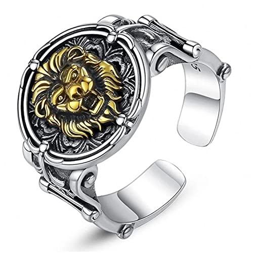 Siwii Anillo Europeo y Americano Retro Majestic Domineering Lion Ring