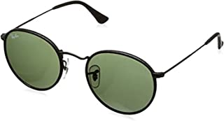 Bundle: Ray-Ban RB3475Q Round Craft Leather Black/Green 50mm & Carekit