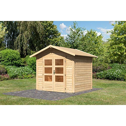 Röhrs Edition - Karibu Gartenhaus Dörverden 3 naturbelassen Set mit Boden & Dachfolie - Gerätehaus aus Fichtenholz - 244 x 204 cm - 28 mm Wandstärke - modernes Design mit Satteldach