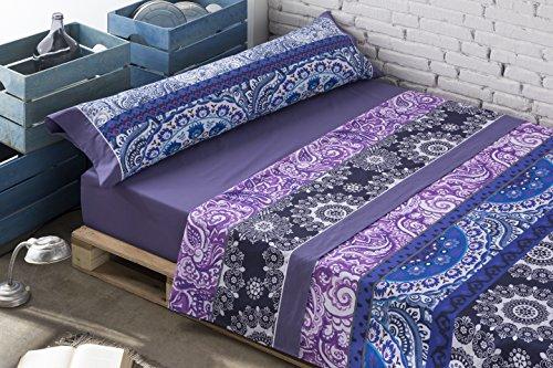 Gale Hayman Style Lois Jaipur Juego de Sábanas, Algodón-Poliéster, Azul, 90 x 190 cm