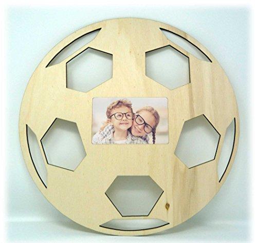 Fußball Echtholz Bilder-Rahmen Tür-Schild für das Kinderzimmer Babyzimmer für Mädchen und Junge Babys - Auch zum selbst bemalen geeignet