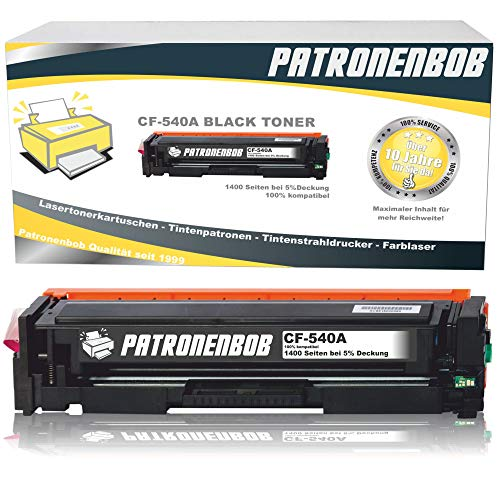 Patronenbob® XL Toner Black kompatibel zu HP CF540A-CF543A für Color Laserjet Pro M-280nw M-281fdn M-281fdw M-254nw M-254dw - 203A
