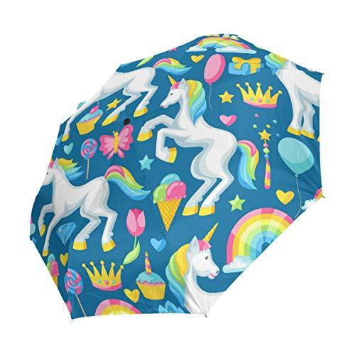 Ahomy Art Umbrella 3-Plegable acuarela Unicornios arco iris helado paraguas de viaje resistente...