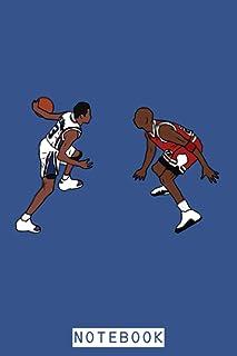 Allen Iverson Crosses Over Michael Jordan Notebook: Planner, Matte Finish Cover, Lined College Ruled Paper, Journal, Diar...